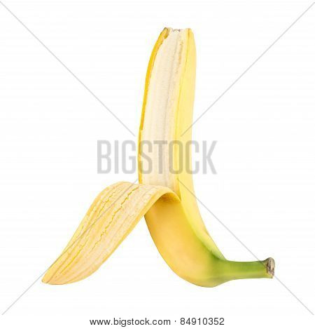 Semi-opened spotless fresh banana over white