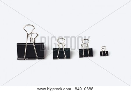 Binder clips in an ascending order