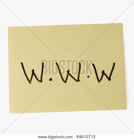 World Wide Web written on an adhesive note