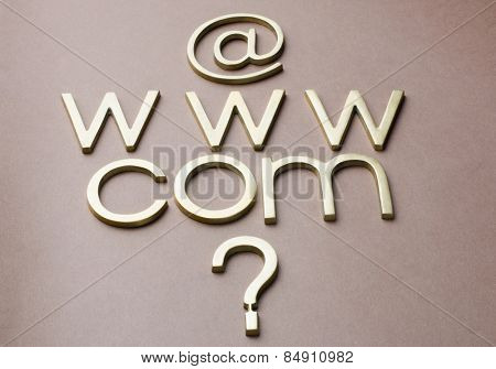 Question mark with internet symbols