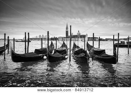San Giorgio Maggiore Church With Moored Gondolas Bw
