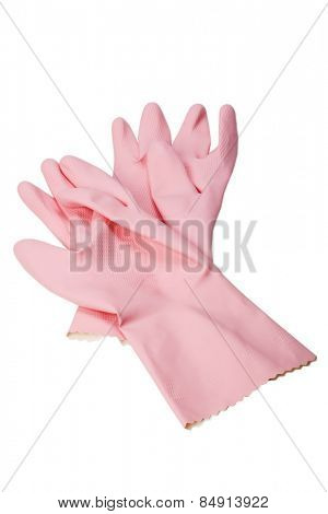 Close-up of a pair of pink washing up gloves