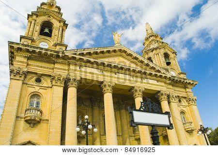 Front view of a church, Valletta, Malta