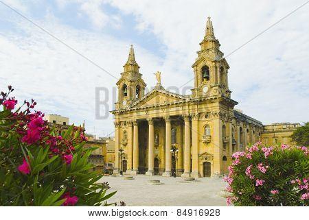 Facade of a church, Valletta, Malta