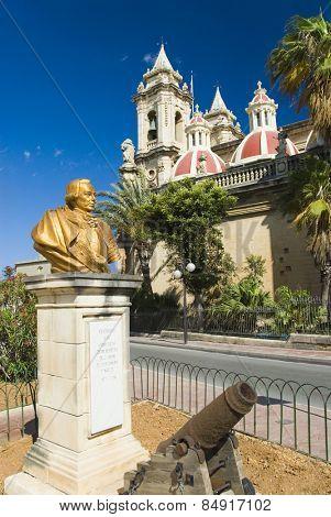 Bust on a pedestal, St. Catherine Church, Zurrieq, Malta