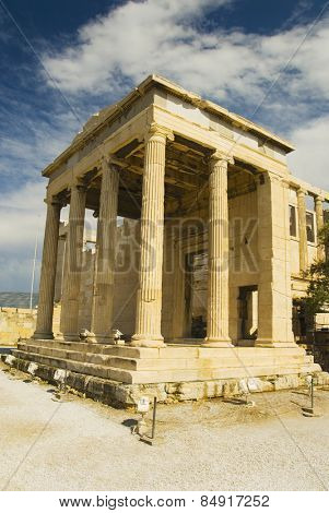 Colonnade of an ancient temple, The Erechtheum, Acropolis, Athens, Greece