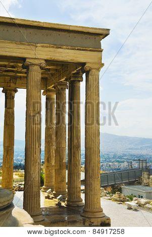 Colonnade of an ancient temple, The Erechtheum, Acropolis, Athens, Greece
