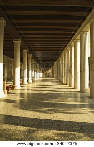 Corridor of an ancient museum, Stoa of Attalos, The Ancient Agora, Athens, Greece