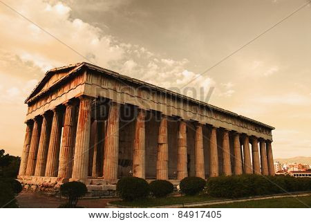 Colonnade of an ancient temple, Parthenon, Acropolis, Athens, Greece