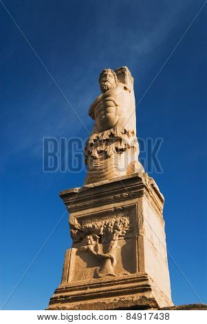 Low angle view of a statue, Odeon of Agrippa, The Ancient Agora, Athens, Greece