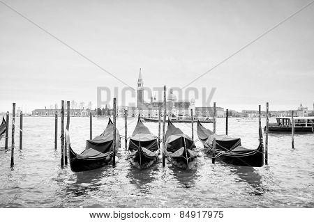 Gondolas With View Of San Giorgio Maggiore Bw