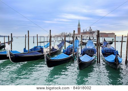 Gondolas Moored In Front Of San Giorgio Maggiore