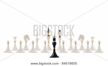 Black chess king opposite to white ones