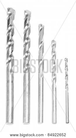 Close-up of drill bits arranged in a descending order