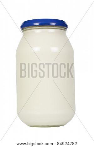 Close-up of a mayonnaise jar