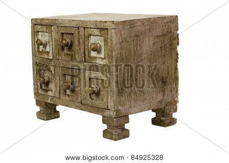 Close-up of an old drawer
