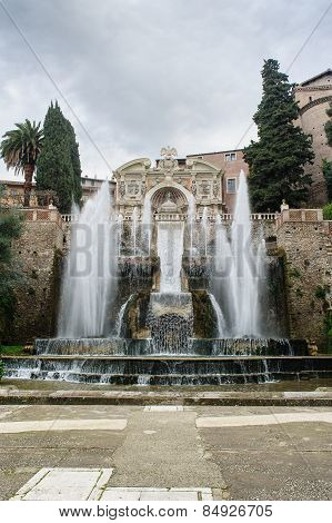 Tivoli, Italy - January 28, 2010: Fontana Dell'organo