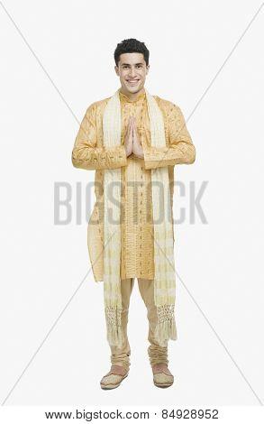 Man in prayer position