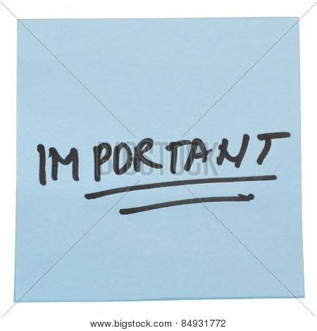 Word Important written on an adhesive note