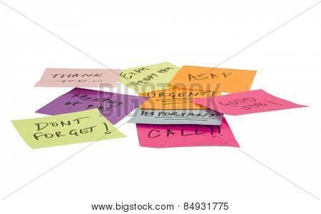 Text written on adhesive notes