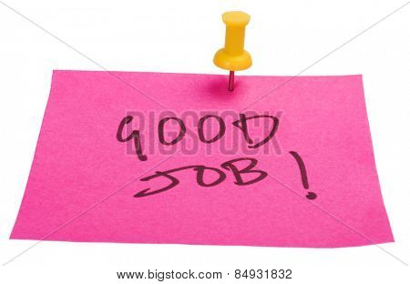 Good Job text written on an adhesive note