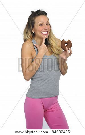 Young Sexy Naughty Woman Eating Chocolate Donut Happy Guilty For Unhealthy Nutrition
