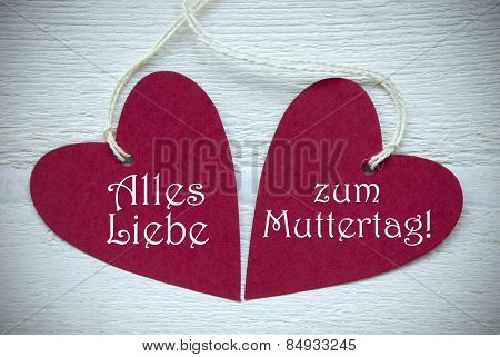 Two Red Hearts Alles Liebe Zum Muttertag Means Happy Mothers Day
