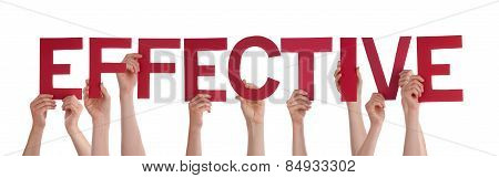 Many People Hands Holding Red Straight Word Effective