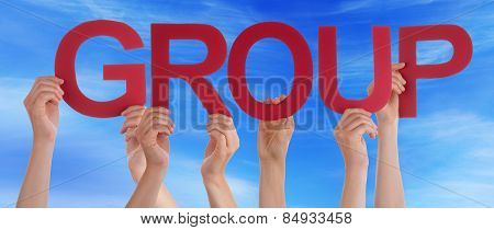 Many People Hands Holding Red Straight Word Group Blue Sky