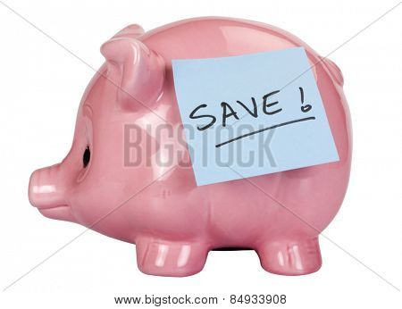 Adhesive note with word Save written on it stuck on a piggy bank