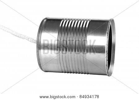 Close-up of a tin can phone