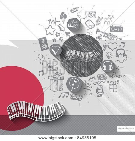 Hand drawn piano icons with icons background