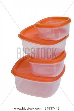 Close-up of a stack of plastic containers