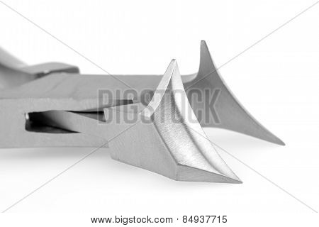 Metal manicure nippers, isolated on a white background