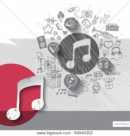 Hand drawn music note icons with icons background