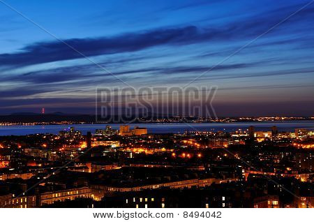 View On Edinburgh Harbor In Night