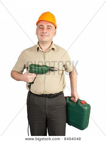 Man In  Hard Hat With Drill