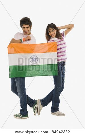Couple holding Indian flag