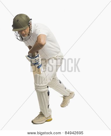 Batsman in forward defensive stance