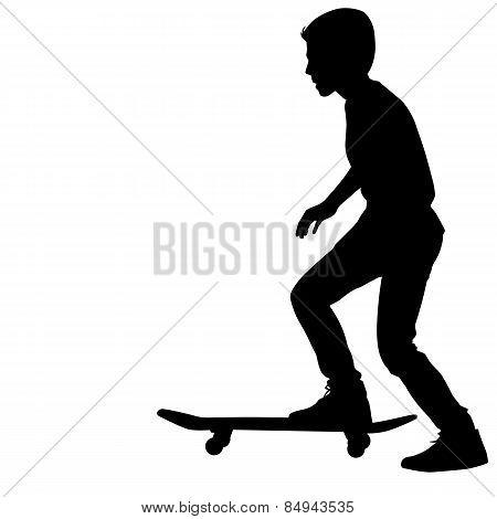 Black Of Skateboarders Silhouette. Vector Illustration.