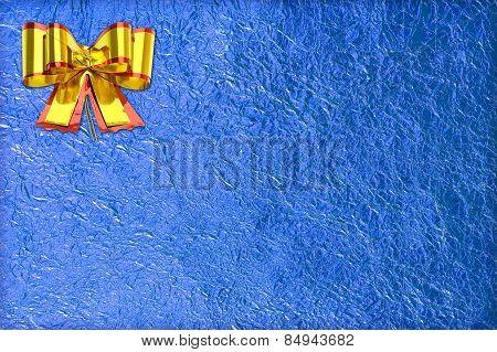 Shiny Blue Leaf  And  Gold Ribbon
