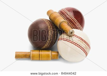 Close-up of cricket balls and bails