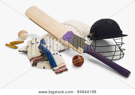 Close-up of cricket equipment