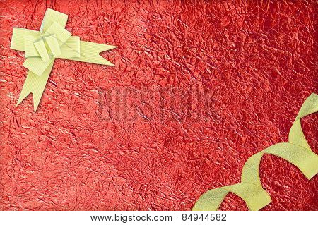 Shiny Red Leaf  And  Gold Ribbon