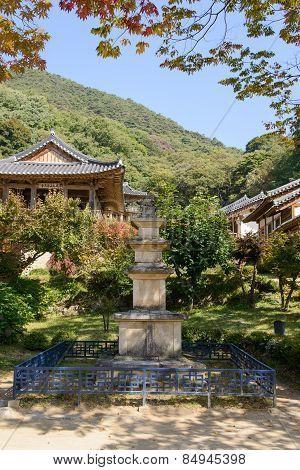 Yeongju, Korea - October 15, 2014: Stone Pagoda In Buseoksa