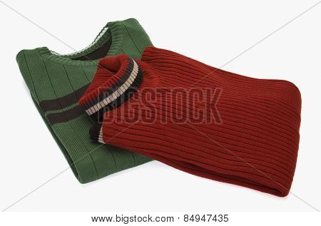 High angle view of two sweaters