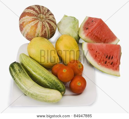 High angle view of assorted fruits and vegetables