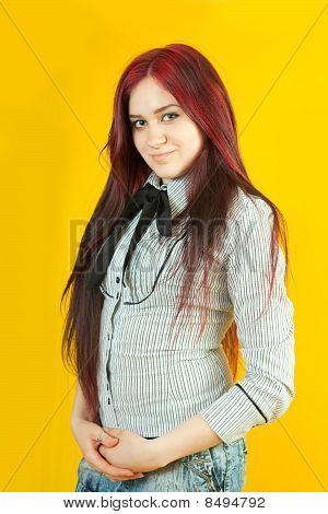 Brunette Girl Over  Yellow