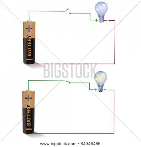 Electric circuit showing Open and Closed switches using a light bulb and battery