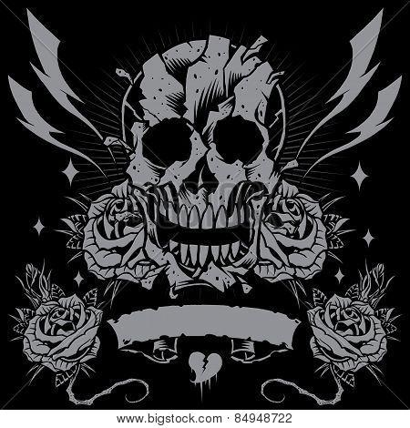 Skull, Roses, Ribbon And Thunder